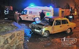 ДТП в Кривом Роге: «Копейка» влетела в каменный парапет на «Мудреной»