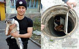 Криворожские полицейские спасли собаку и кота