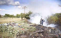 Масштабный пожар на стихийной свалке в Кривом Роге