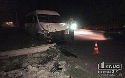 В Кривом Роге микробус снес столб, водитель скрылся с места аварии