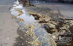 На одной из улиц Кривого Рога прорвало водопровод