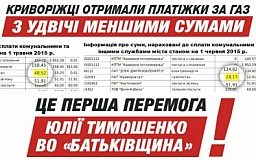 Криворожская городская организация ВО «Батьківщина» поздравляет криворожан с первыми победами по снижению тарифов на природный газ!