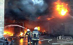 Масштабный пожар на предприятии по изготовлению пластика под Днепром