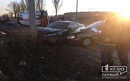 На объездной дороге в Кривом Роге Hyundai протаранил столб