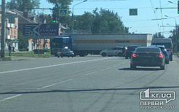 В Кривом Роге на автовокзале фура перекрыла дорогу