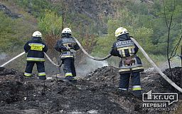 На Криворожском шоссе спасатели несколько часов тушат масштабный пожар