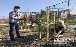 Школьник из Кривого Рога, преодолевший тяжелое заболевание, вышел вместе с мамой на высадку деревьев