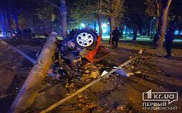 В Кривом Роге автомобиль вылетел на территорию сквера и снес столб и дерево