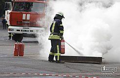 Криворожские спасатели тушили условный пожар на стадионе «Металлург»