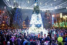 Открытие новогодней елки на ЮГОКе
