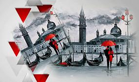 Черно-белая любовь под красным зонтом